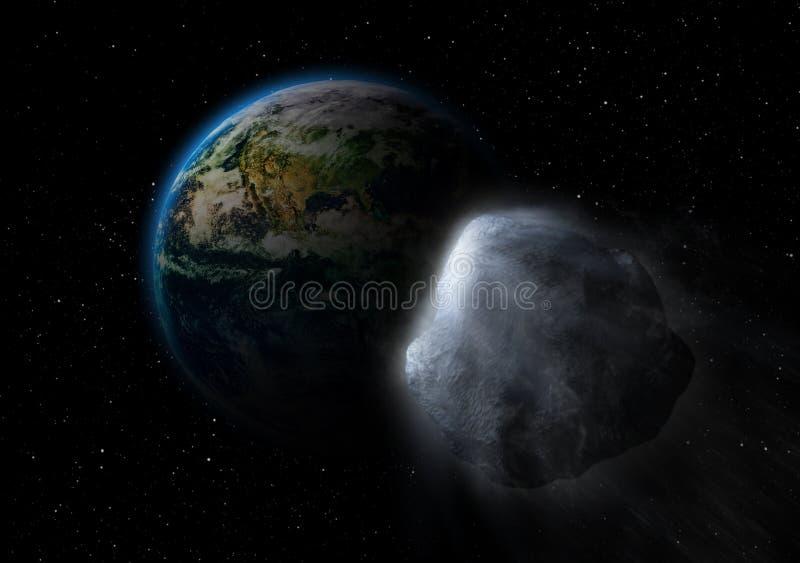 在碰撞道路的小行星有地球的 向量例证
