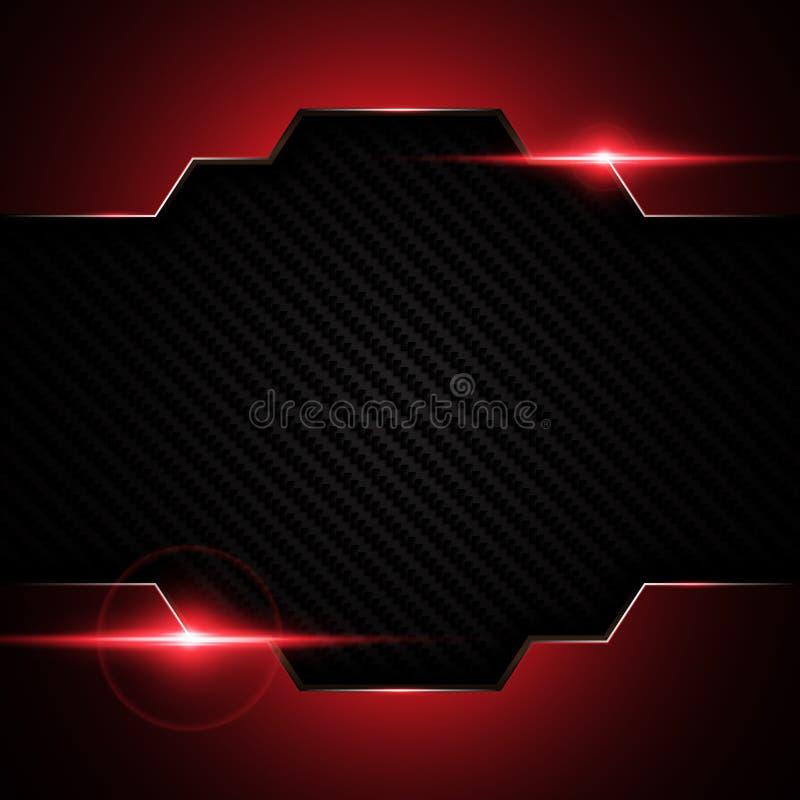 在碳凯夫拉尔纹理样式技术的抽象金属黑红色框架炫耀创新概念背景 皇族释放例证