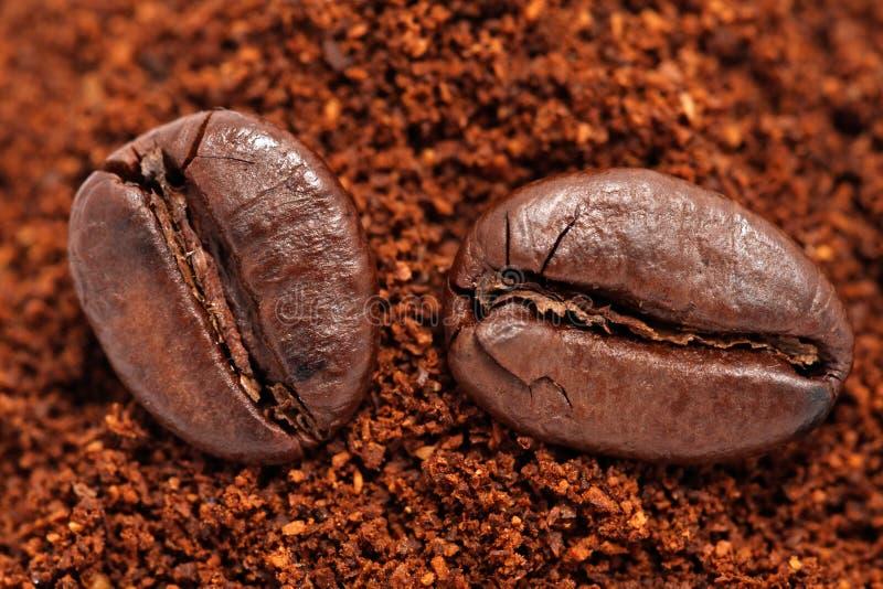在碾碎的咖啡的咖啡豆 免版税库存图片