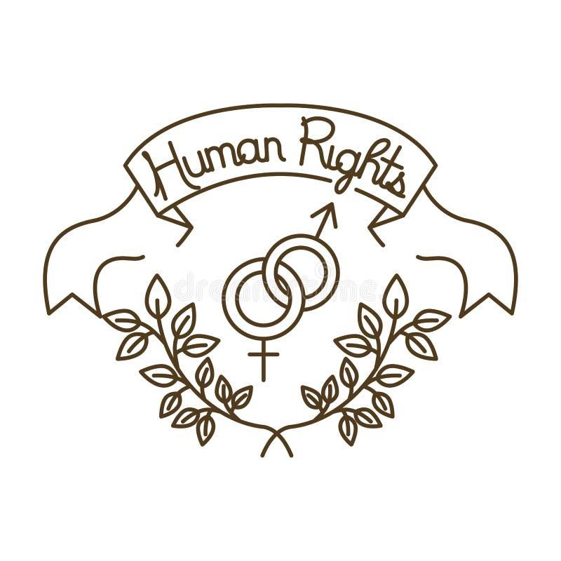 在磁带上的人权有男人和妇女标志的 向量例证