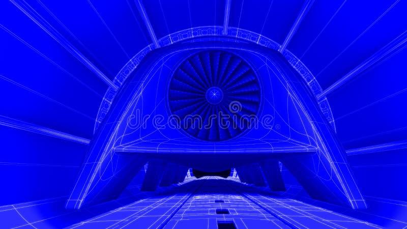 在磁性轨道,图纸背景的未来派火车模块 3d翻译 皇族释放例证