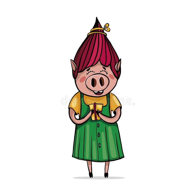 在礼服的逗人喜爱的女孩猪,拿着礼物 计算机处理 皇族释放例证