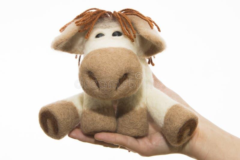 在礼物的玩具马 免版税库存图片
