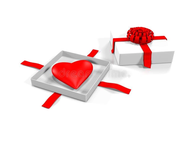 在礼物盒的心脏,隔绝在白色背景, 3d回报 向量例证
