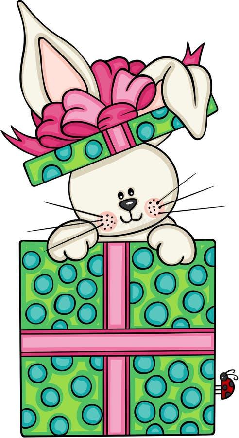 在礼物盒的逗人喜爱的兔宝宝 皇族释放例证