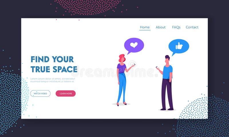 在社会媒介网站着陆页、年轻人和妇女的聪明的技术使用流动智能手机 沟通的人民 向量例证