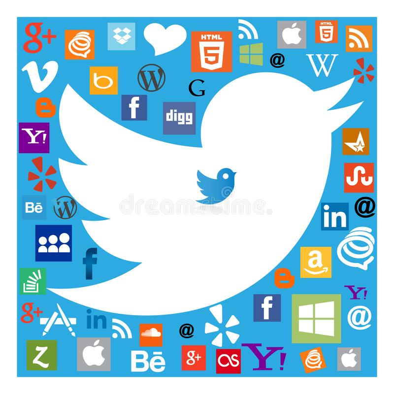 在社会媒介象中的慌张鸟 向量例证