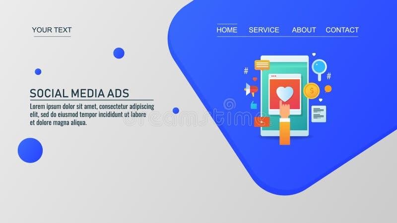在社会网络渠道,美满的营销,数字广告促进,传染媒介网横幅的数字广告 库存例证