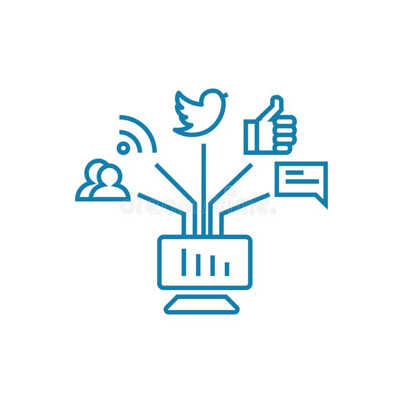 在社会网络线性象概念的通信 在社会网络的通信排行传染媒介标志,标志 库存例证