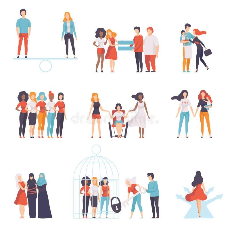在社会集合,支持,女孩的不同的国籍的年轻女人的男女平等主张为 皇族释放例证