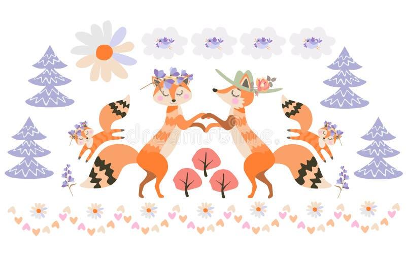 在神仙的森林父母的Fox家庭在他们附近举行手和儿童乐趣跃迁 鸟,云彩,以雏菊的形式太阳 皇族释放例证