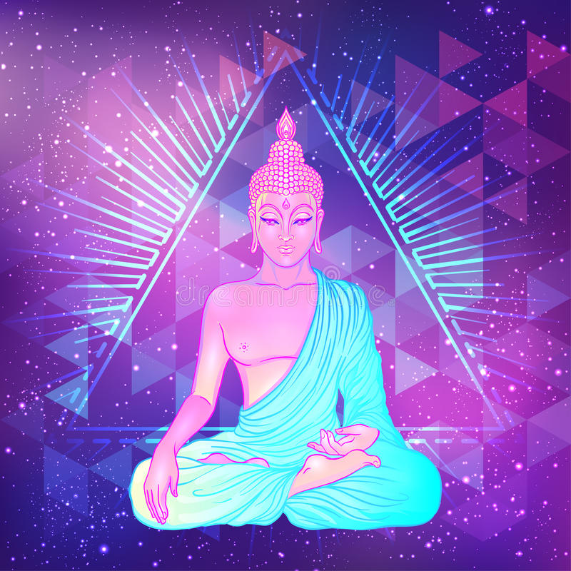 在神圣的几何背景的坐的菩萨 传染媒介illustrat 库存例证