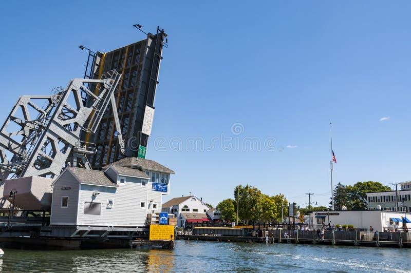 在神秘主义者,康涅狄格的偶象吊桥 ,美国 免版税库存照片
