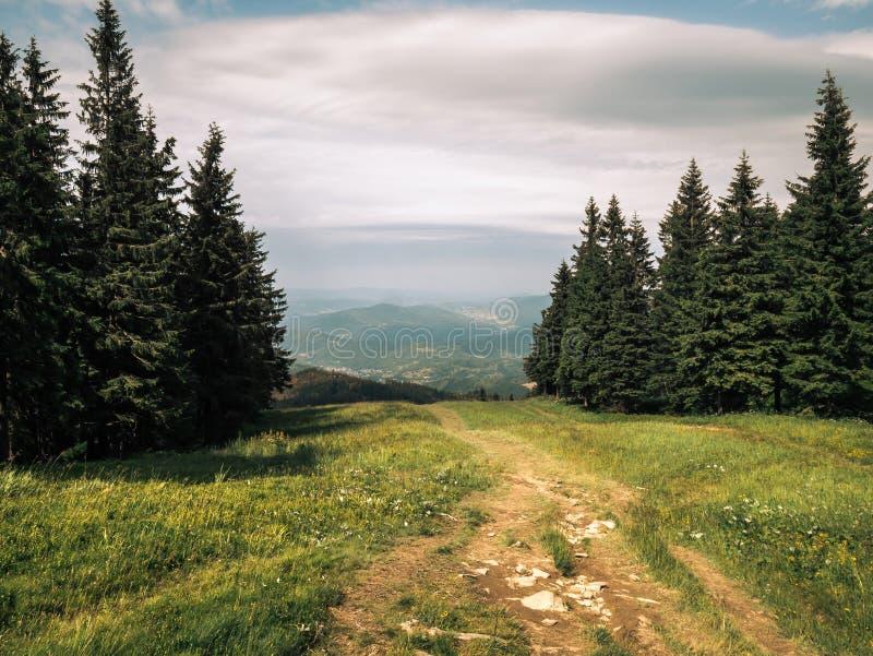 在神秘的山的秀丽足迹 免版税库存图片