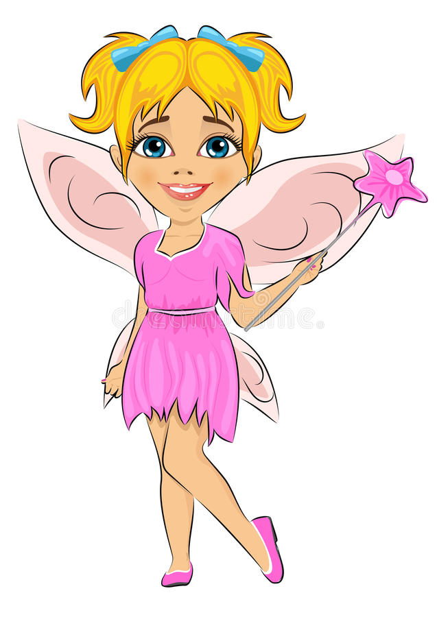 在神仙的服装打扮的美丽的逗人喜爱的女孩 库存例证