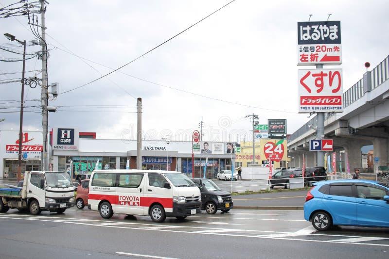 在福冈县的街道视图 免版税库存图片