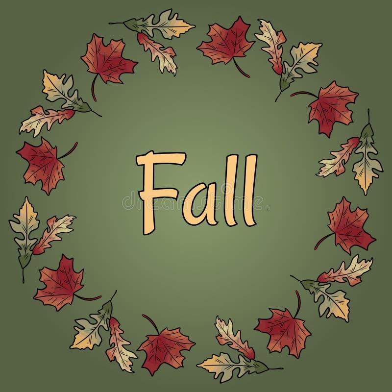 在秋叶花圈装饰品的秋天文本 秋天橙色和红色叶子 皇族释放例证