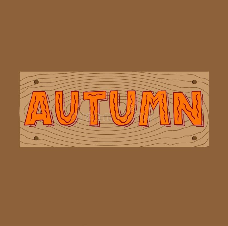在秋天上写字的逗人喜爱的手装饰由速写的叶子 为海报,横幅,卡片,印刷品,邀请,销售小册子完善 皇族释放例证