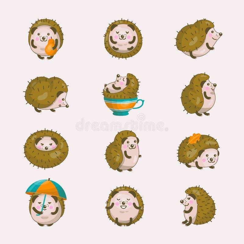 在秋天例证套的猬传染媒介动画片多刺的动物字符睡觉的猬tenrec婴孩被隔绝  库存例证