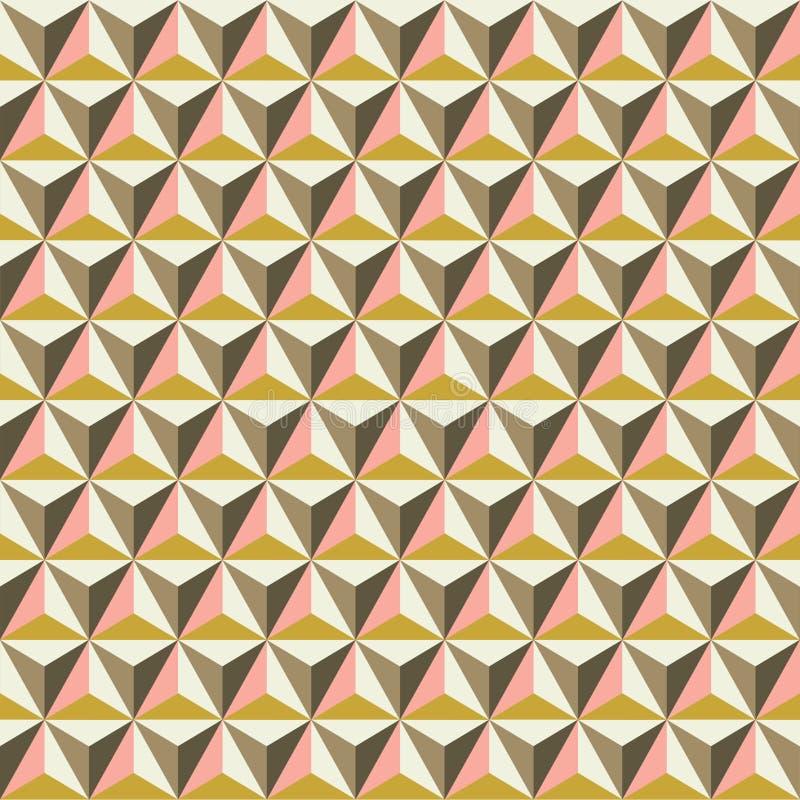 在秋天口气的无缝的雕琢平面的多面的三角背景样式纹理 向量例证