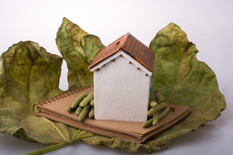 在秋天叶子和笔记本安置的一点式样房子 免版税库存照片