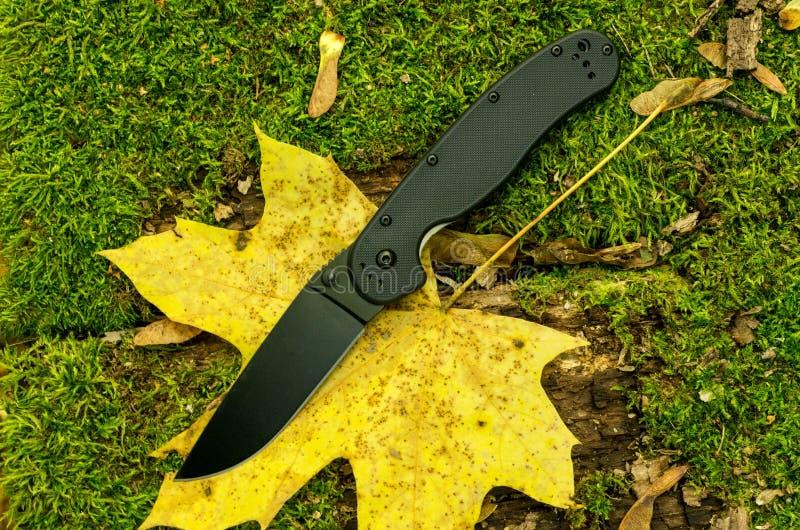 在秋天叶子的黑折叠的刀子 在有刀子的森林里 库存图片