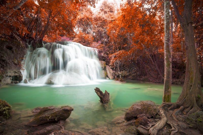 在秋天场面的深森林瀑布在Huay Mae waterfal的Kamin 免版税库存图片