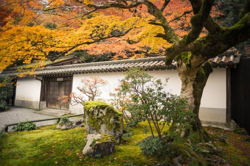 在秋天季节的日本庭院样式 免版税库存图片