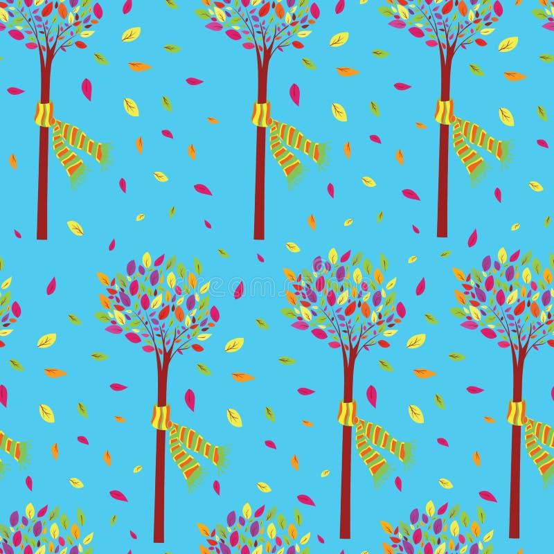 在秋天无缝的样式传染媒介的五颜六色和美丽的小的树 皇族释放例证