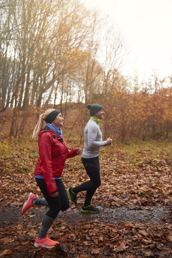 在秋天期间的跑步的时间 免版税库存图片