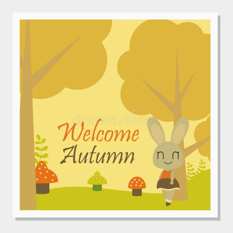 在秋天树传染媒介动画片例证下的兔宝宝女孩秋天贺卡设计的 免版税图库摄影
