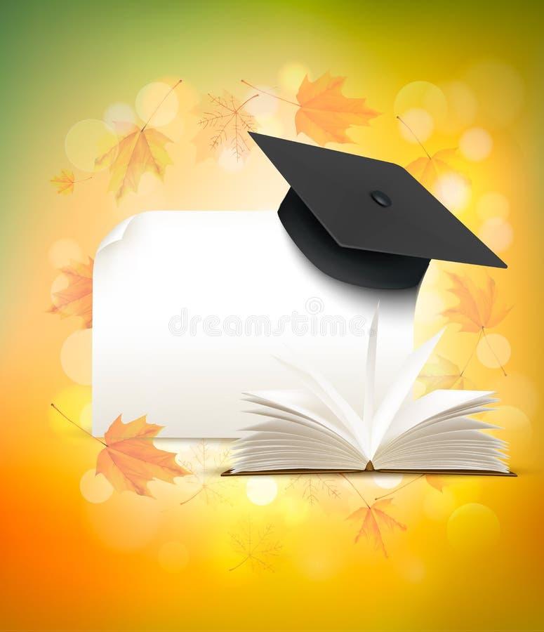 在秋天背景的毕业盖帽与书 向量例证