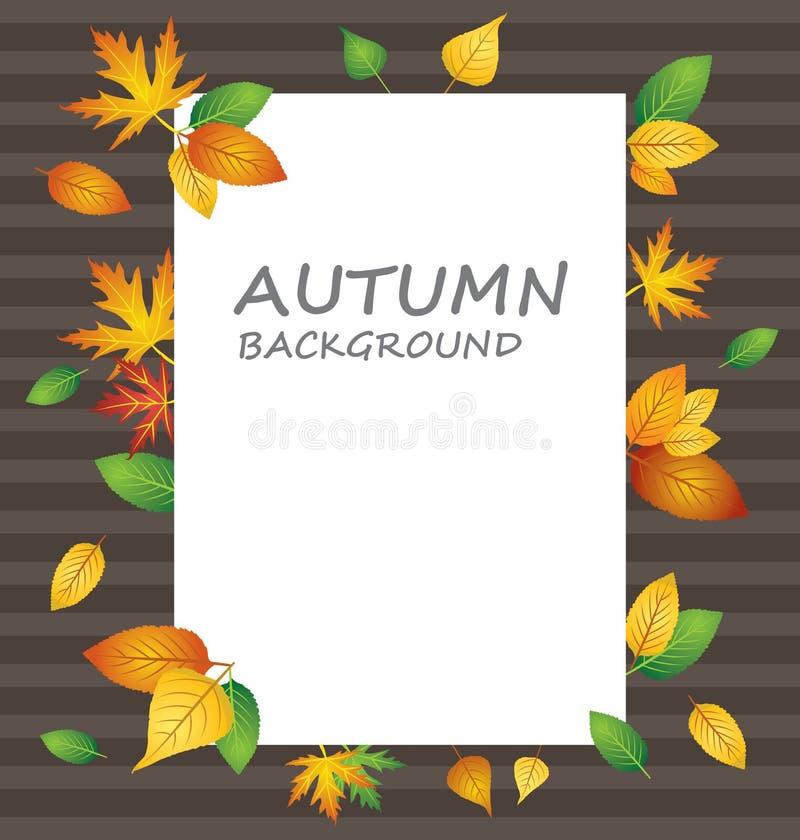 在秋天背景的白色白纸与另外种类叶子 向量例证