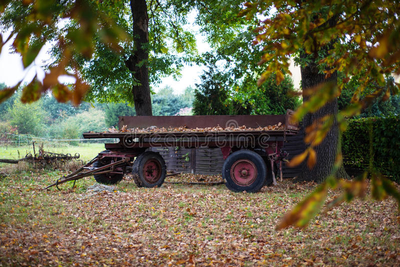 在秋天自然的被放弃的无盖货车 库存照片
