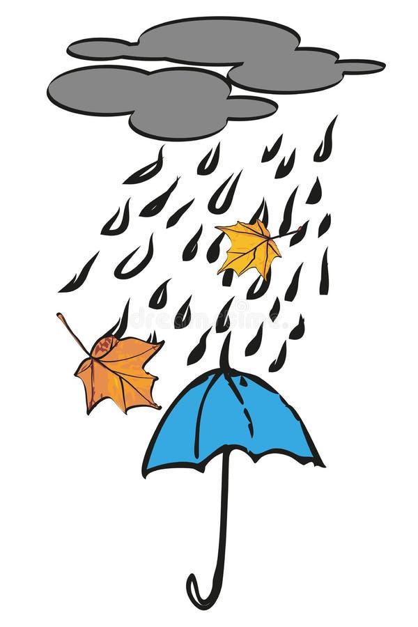在秋天雨下的蓝色伞 库存照片