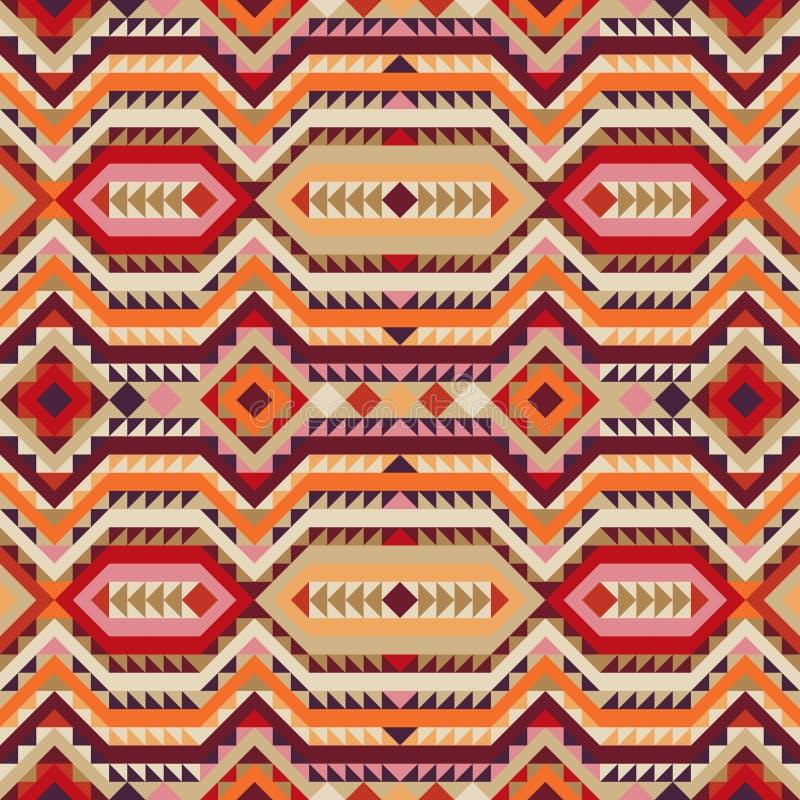 在秋天颜色的种族部族无缝的样式 皇族释放例证