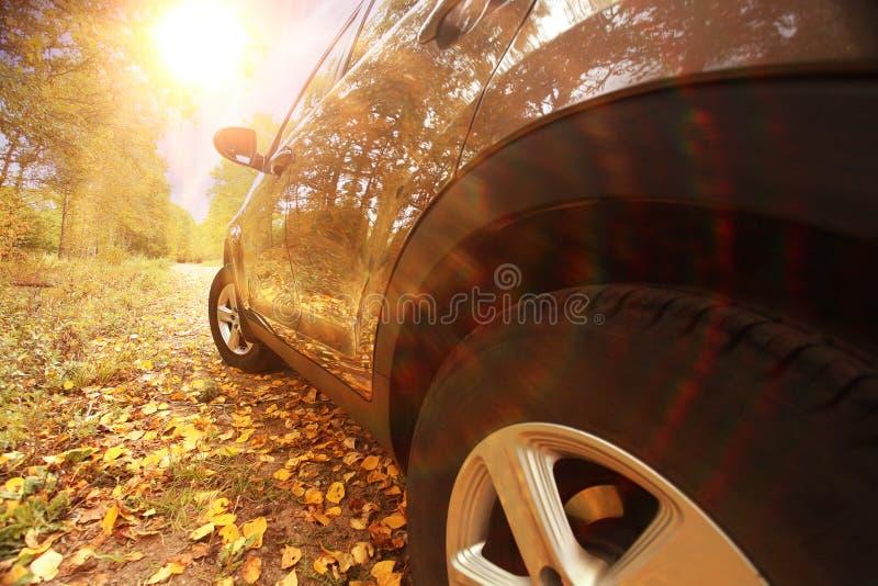 在秋天风景的汽车 免版税库存图片