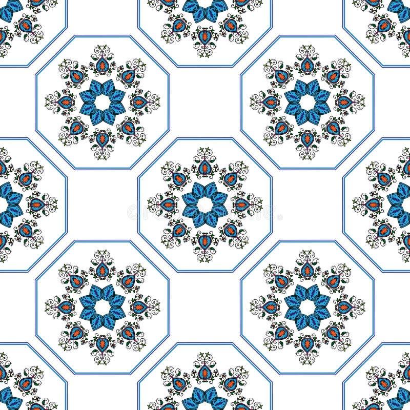 在种族东方样式的无缝的蓝色样式 库存例证