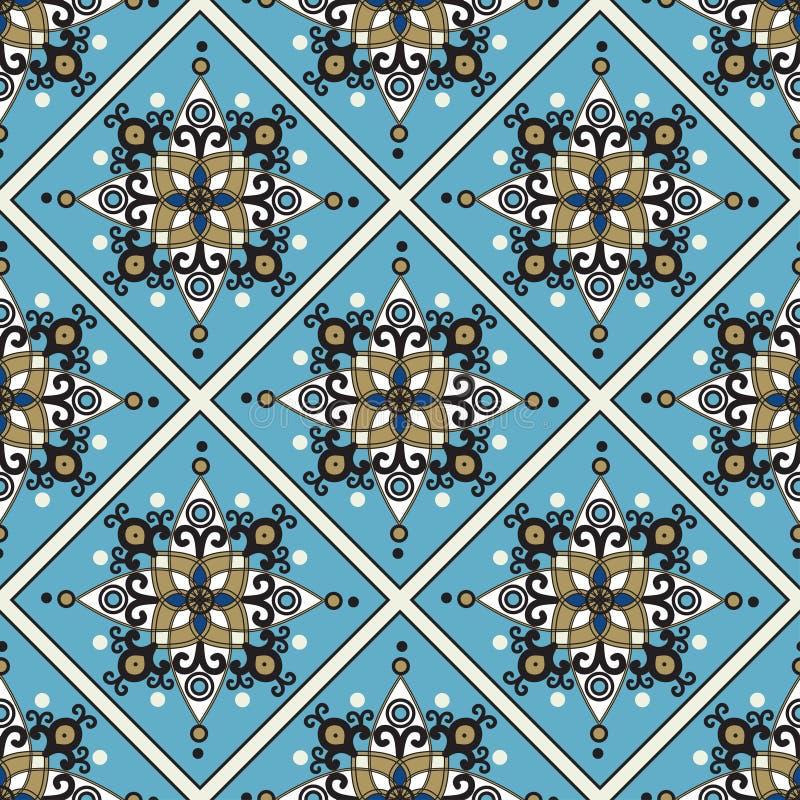 在种族东方样式的无缝的蓝色样式 向量例证
