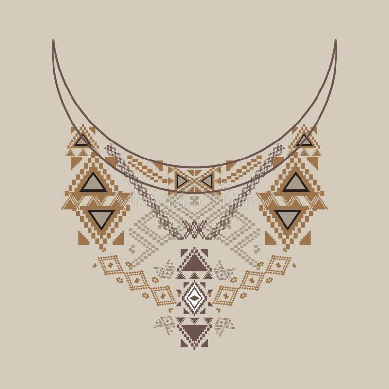 在种族样式的领口设计时尚的 阿兹台克脖子印刷品 皇族释放例证