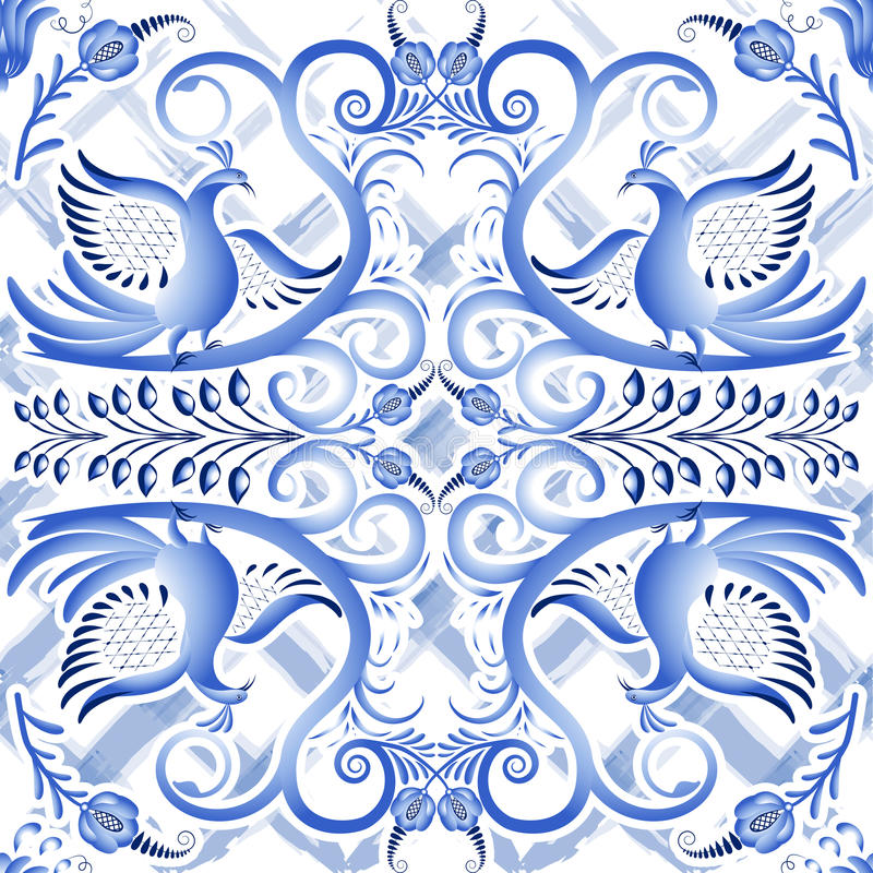 在种族样式Gzhel的蓝色无缝的轻的样式水彩基体 在瓷的风格化绘画 向量例证