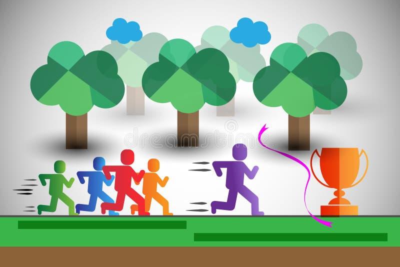 在种族的五颜六色的赛跑者,也代表团队负责人,优胜者等 向量例证
