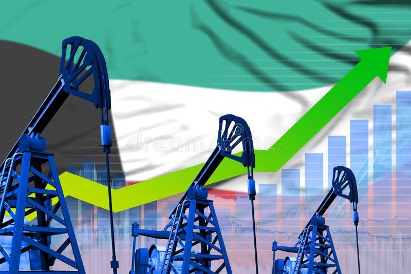 在科威特旗子背景-科威特石油工业或市场概念的工业例证的增长的图表 3d?? 向量例证