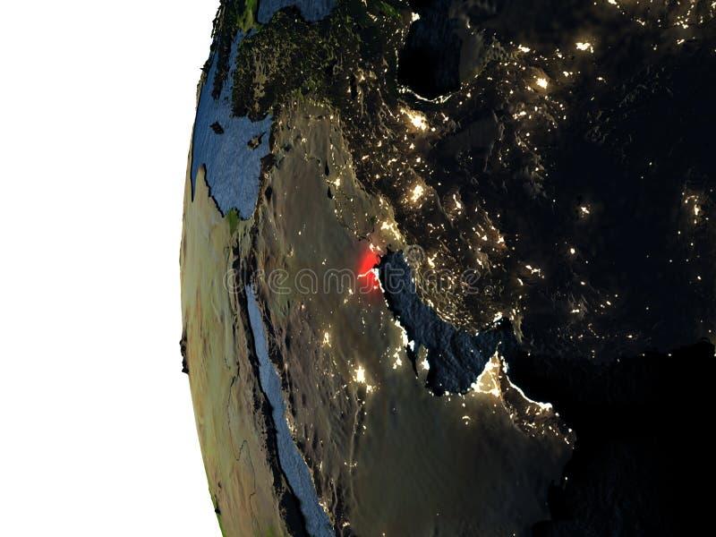 在科威特的日落从空间 皇族释放例证