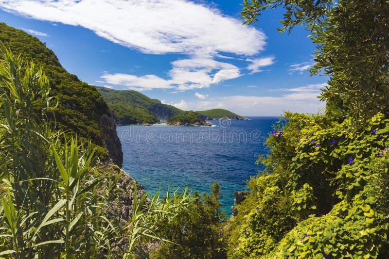 在科孚岛海岛, Paelokastrica,希腊上的蓝色和绿色海岸线 库存图片