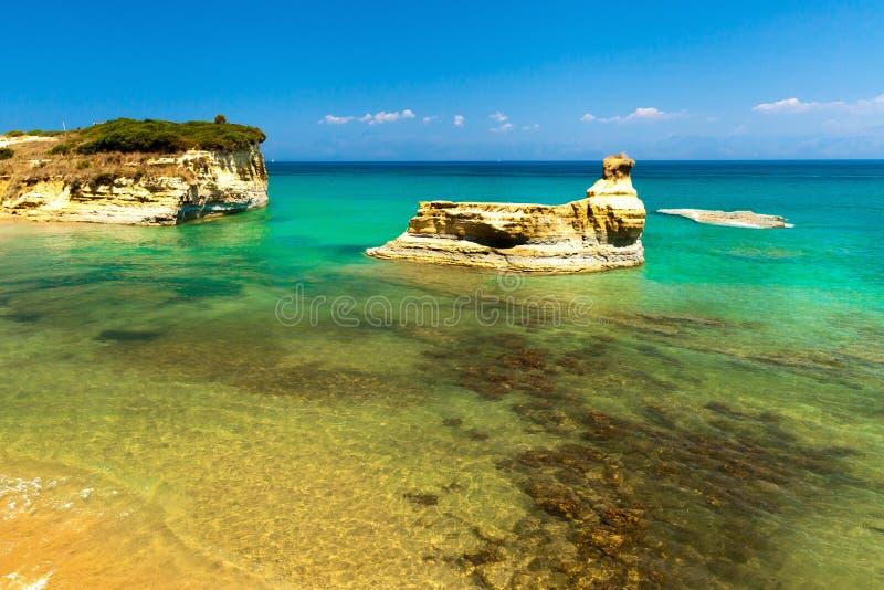 在科孚岛(Kerkyra)海岛-希腊上的Sidari海滩 库存图片