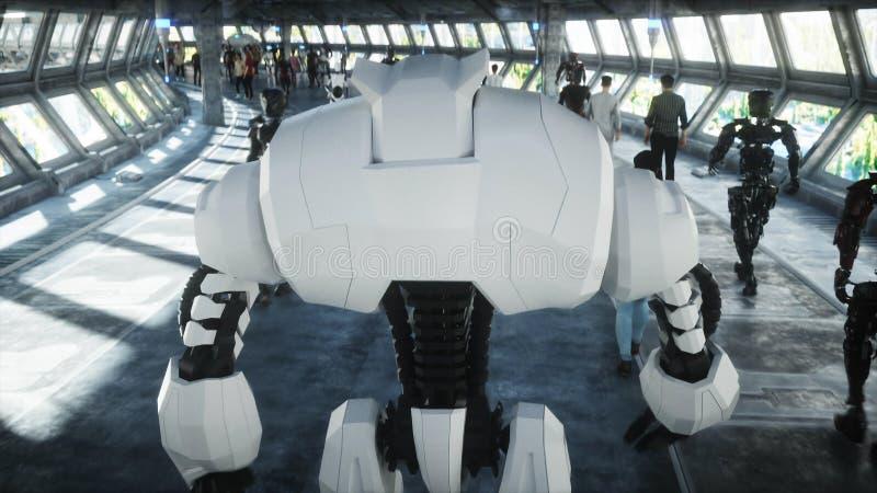 在科学幻想小说tonnel的机器人 未来的概念 3d?? 库存例证