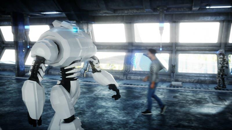 在科学幻想小说tonnel的机器人 未来的概念 3d?? 向量例证