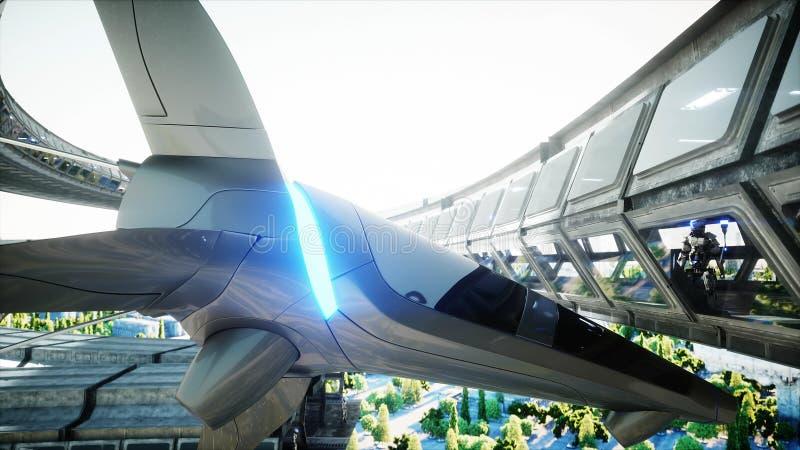 在科学幻想小说tonnel的机器人 未来的概念 3d?? 3d?? 皇族释放例证
