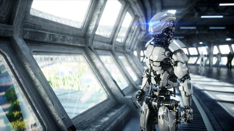 在科学幻想小说tonnel的机器人 未来的概念 3d?? 皇族释放例证